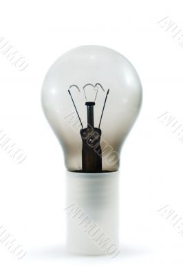 Burn out light bulb isolated