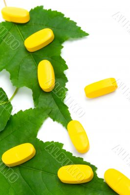 vitamin pills over green leaves