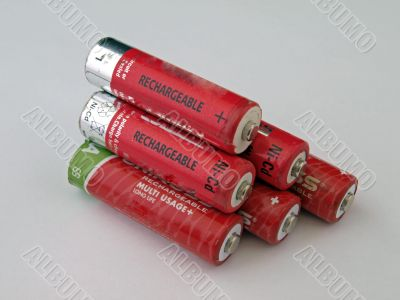 Six rechargeable batteries.