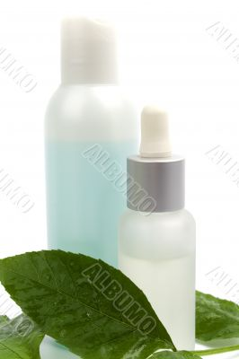 cosmetic products with green leaf