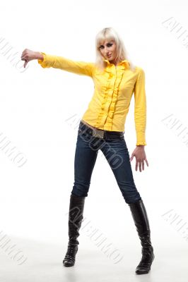 Blonde woman in yellow
