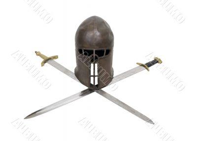 Medieval helm and crossed swords