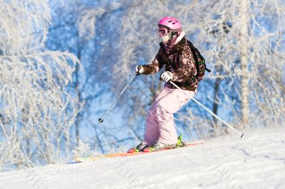 Girl riding on skis