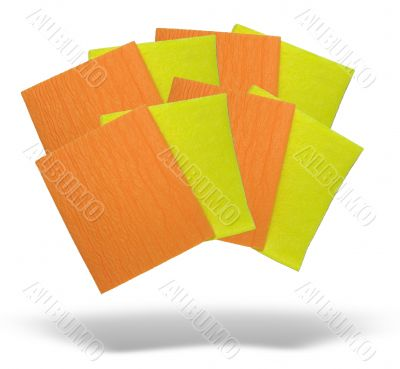 yellow and orange napkins with shadow isolated