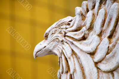 The close up of carving eagle