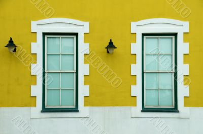 Colorful houses` wall