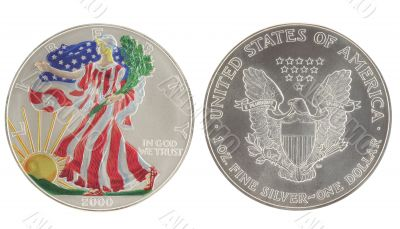 Painted Walking Liberty Silver Dollar