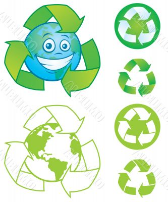 Recycle Symbol and Earth