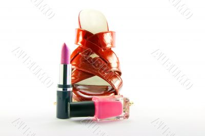 Red Shoe with Lipstick and Nail Polish