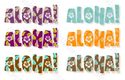 Vector illustration of aloha word in different colors