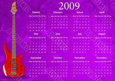 Vector American calendar with guitar