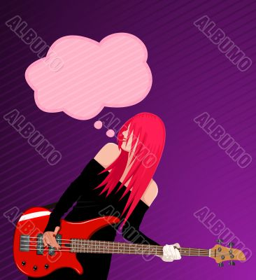 Vector illustration of smiling rock girl with guitar