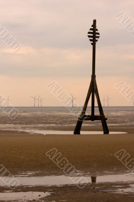 Wooden structure on Crosby Beach