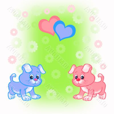 Bright card with two puppies