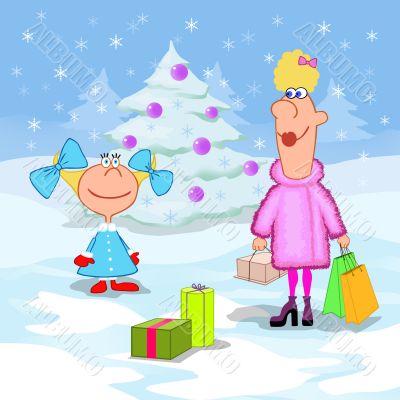 Little girl and Christmas holidays
