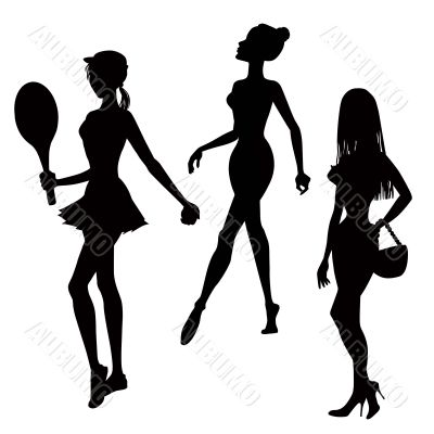 three women silhouettes
