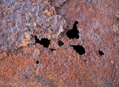 Steel rotten sheet with through corrosion