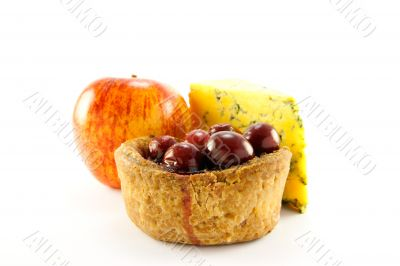 Pork Pie, Red Apple and Slice of Blue Cheese