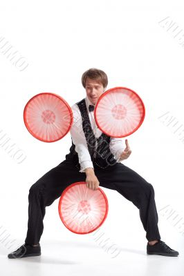 Performer show his juggler ability