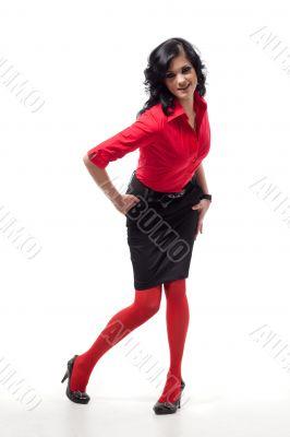 Brunette woman poses