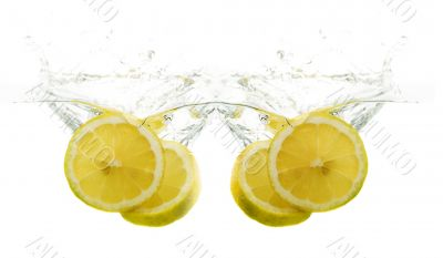 Lemons fall into the water