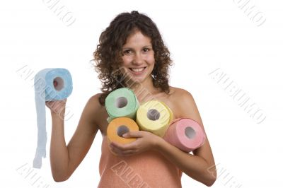 Girl with toilet paper