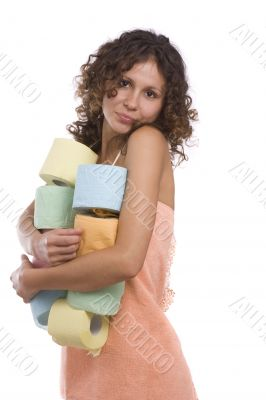 Woman with toilet paper