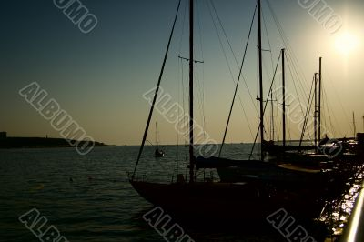 Silhouettes of marine yachts