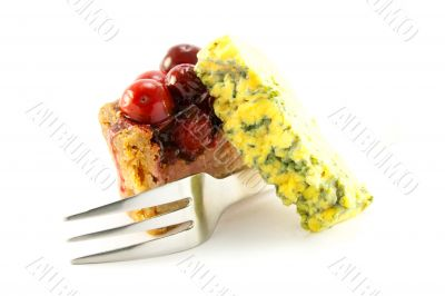 Slice of Pork Pie with Blue Cheese and Fork