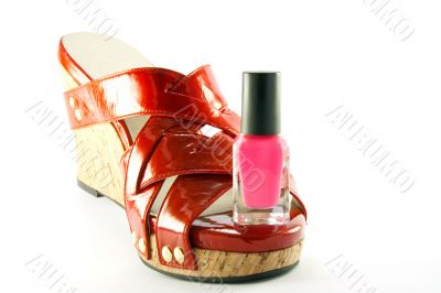 Red Shoe with Pink Nail Polish