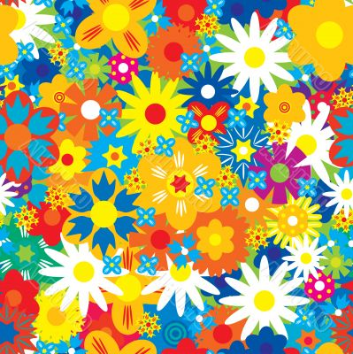 Seamless abstract flowers background.