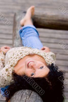 outdoor portrait of beautiful brunet