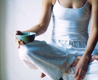 Peaceful Breakfast. Cute woman