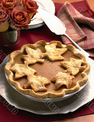 Pumpkin Pie with Pastry Leaves