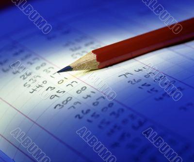 financial accounts. pencil and paper