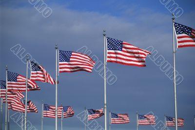flags surrounding Washington Monument