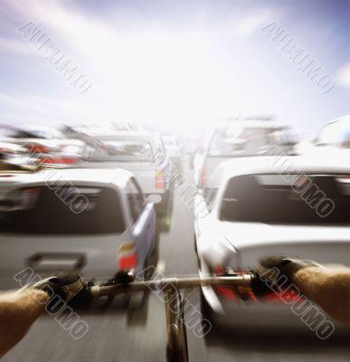 Cyclist Speeding through Static Traffic