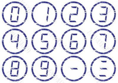 Liquid crystal digits icons set.
