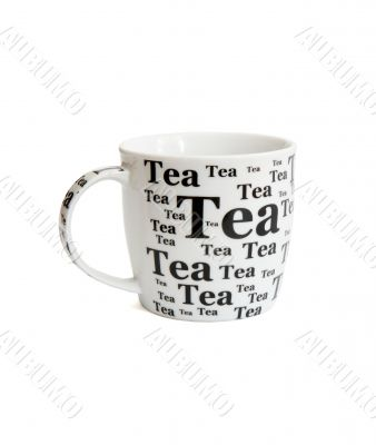 White tea cup with black inscriptions isolated