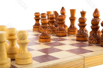Chess wooden board with figures