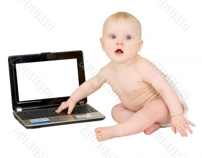 Baby with the laptop isolated on white