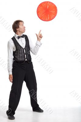 Juggler show up to his props