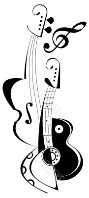 Musical instruments tattoo