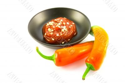 Chillis with Bowl of Chili Sauce