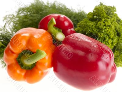 fresh tasty peppers on white background.