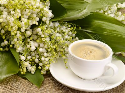 Morning in the village. Still-life with lily of the valley