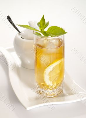cool green tea with lemon and fresh mint