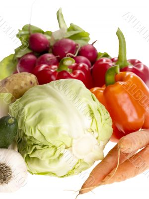 fresh tasty vegetables on white background with clipping path