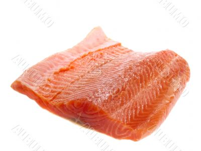 Salmon steak. Isolated with clipping path
