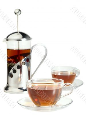 french-press with pair cups of tea